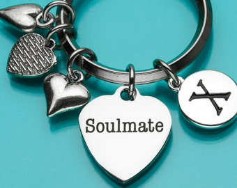 Soulmate Keychain, Soulmate Key Ring, Love Keychain, Heart Charm, Romantic Gift, Personalized Keychain, Charm Keychain, 761,793,794,717