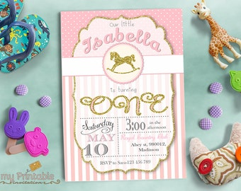 Rocking Horse Invitation / Digital Printable Birthday Invite for Kids / first birthday Party / DIY
