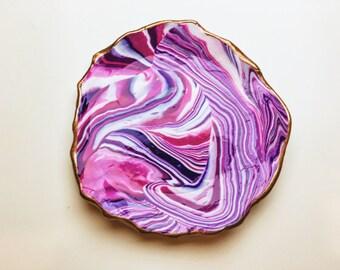 Purple and Bronze Marbled Handmade Ring Dish