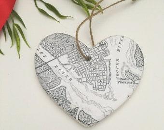 Vintage Charleston Map Ornament - Black & White