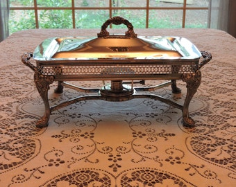 Estate Ornate Vintage Silver-Plated Chafing Dish with Alcohol Burner in Lovely Vintage Condition!