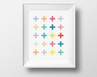 colourful swiss cross, Wall art swiss cross, illustration cross, minimalist print, nursery print, kids room
