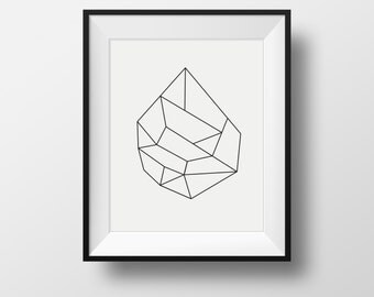 Modern wall art, black and white modern art, black and white geometric print, geometric print, black framed prints, framed ikea prints