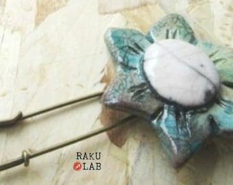 Raku ceramic pin-handmade-unique piece flower green/blue and White Flower Handmade OOAK ceramic RAKULAB on etsy