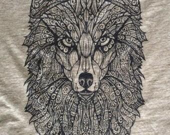 Wolf T-Shirt, Womens Next Level T, Original Art, Hand Drawn, Screen Printed