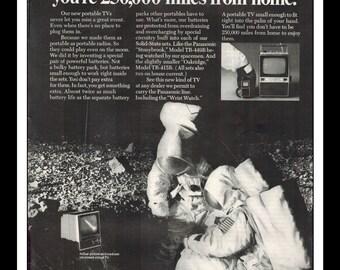 "Vintage Print Ad December 1969 : Panasonic Portable TV NASA Moon Russians Wall Art Decor 8.5"" x 11"" Advertisement"