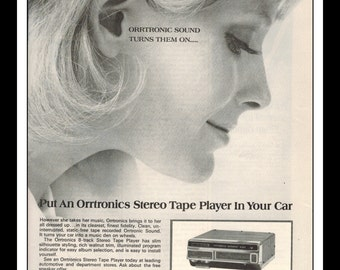 "Vintage Print Ad November 1968 : Orrtronics Car Stereo 8 Track Sexy Girl Wall Art Decor 8.5"" x 11"" Advertisement"
