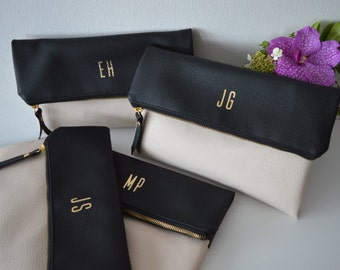 Set of 4 Personalised Clutches, Black / Cream Foldover Clutch Bag, Wedding Purse, Gift for Bridesmaids