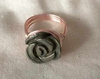 Rose Gold Rose Ring, Pyrite Rose, Wire Wrapped, Pewter Rose, Statement Ring