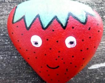 Handpainted stone strawberry. Garden marker. Novelty paperweight.