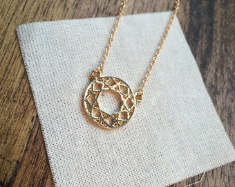 delicate gold necklace - small sun charm