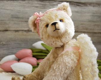 Ivory-Free shipping-OOAK-Teddy bear-Angel-Artist bear-Handmade-Stuffed animals-Vintage-Collection-Unique Teddy Toy
