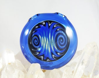 Blue x Black x White Wig Wag Disk Pendant