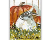Spotted Pet Bunny Autumn Art by Linda  L Martin  ACEO Original Rabbit Watercolor Artwork LLMartin Fall