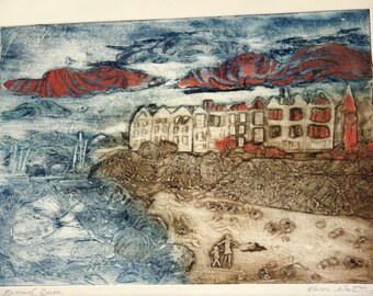 Exmouth beach, collagraph print by Karen Waterlow