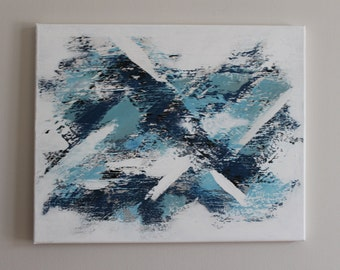 Abstract Painting - 20x16 Canvas - Blue and White Original Contemporary Abstract Art