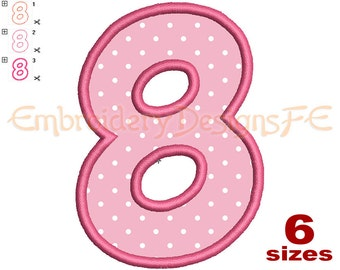 Number 8 Applique - 6 Sizes - Machine Embroidery Design File