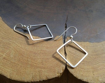 Simple light weight dangle earrings! Handmade sterling silver square free floating earrings!
