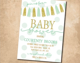 Adorable Baby Shower Invitation with gold glitter detail/mint & gold ink/digital file or printing/wording can be changed