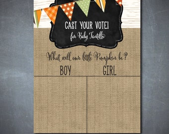 """Voting Chart/Sign for Gender Reveal Party...""""Little Pumpkin""""/DIGITAL FILE/8x10/size can be changed"""