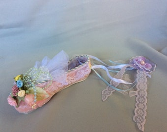 Pointe Ballet Floral Shabby Chic  Handcrafte