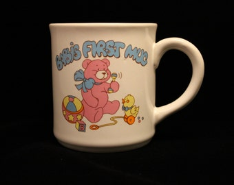 "Vintage 1989 Mug ""Baby's First Mug"" Teddy Bear, Duck, Toys, Coco, Coffee, Tea"