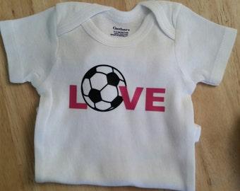 Soccer Onesie, Soccer, Baby Shower, Onesies, Gender Neutral Onesie, Baby Boy, Baby Girl, Sports Onesie, Soccer Baby, Baby Gift, Love, Onesie