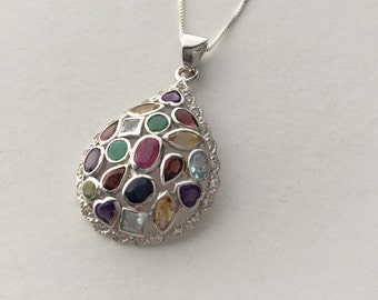 Extra 20% Off Natural Multi-Gemstone Sterling Silver Pendant Necklace - blue topaz, emerald, sapphire, citrine, ruby, peridot, garnet