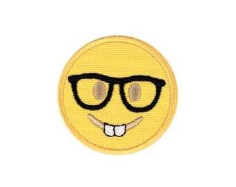 Nerd Face Emoji Embroidered Iron On Patch - FREE SHIPPING