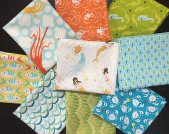 Beach Fun Fabric Bundle -  Curated by Needle in a Fabric Stash - 9 Fat Quarters
