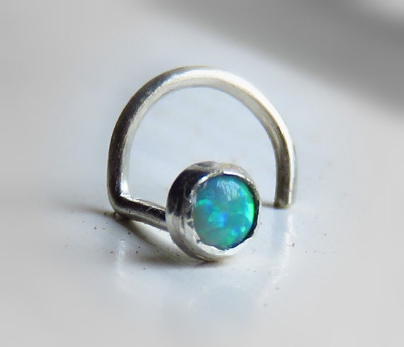 nose stud 18g gemstone nose stud green opal by