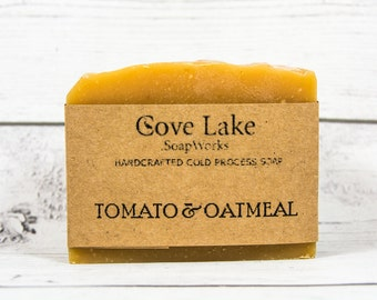 Tomato and Oatmeal Soap, Handmade Cold Process Soap.