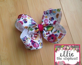 Shopkins Bow - 4.5-5 inch Grosgrain Bow - Large Bow - Colorful Bow - M2M - Birthday