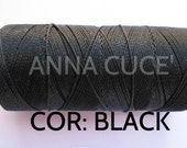 COR:  BLACK Choose from 10 - 20 m waxed thread LINHASITA thick, wire 1 mm for macramé, materials.