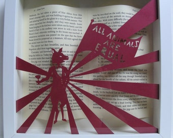 Animal Farm George Orwell framed paper art. Book lovers gift. Papercutting