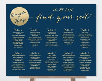 Navy Wedding Seating Chart Sign / Gold Wedding Sign / Metallic Gold and Navy Circle / Seating Sign▷ Printable File {or} Printed & Shipped