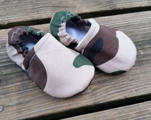 Green Camo Soft Sole Infant Toddler Moccasins , Crib Shoes