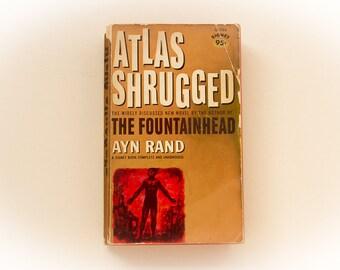 ATLAS SHRUGGED - Ayn Rand, Signet Books 1963 copy - vintage paperback book, book decor, display, John Galt