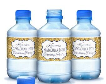 Gold Glitter Sweet 16 Birthday Water Bottle Labels - Gold Glitter Birthday - Gold with Blue Writing - Sweet Sixteen Labels