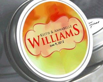 """12 Personalized Last Name Fall Leaves Mint Tin Wedding Favors  - Select the quantity you need below in the """"Pricing & Quantity"""" option tab"""