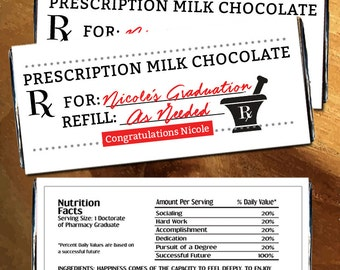 Personalized Prescription Milk Chocolate Candy Bar Wrappers for Hershey's Chocolates - Prescription Candy Wrapper