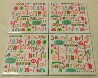 Jolly Bright Season Tile Coasters
