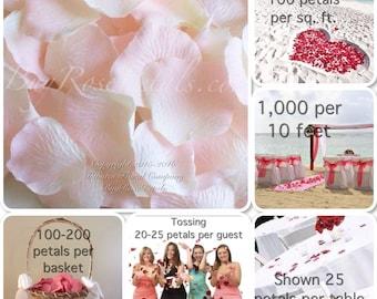 Bridal Pink Rose Petals - 1,000 Silk Rose Petals Value Pack