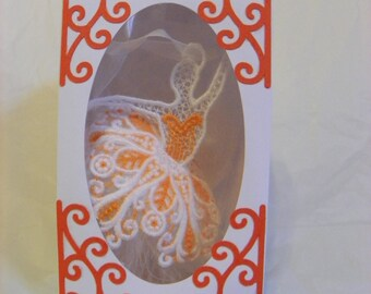 Ballerina Lace Embroidery Ornament / Window Hanging