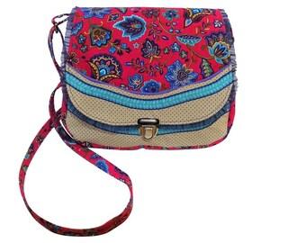 Small bag handbag purse shoulder bag fuchsia pink turquoise purple beige Brown purple brown flowers of handbag shoulder bag blossom points dots