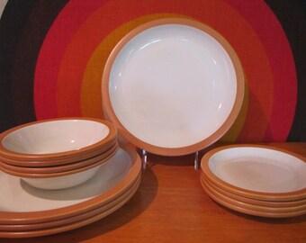 Franciscan Homeware Pumpkin Dinnerware, 12 Piece set, Service for 4, 4 Dinner Plates, 4 Salad Plates, 4 Bowls, 1970's Dinnerware