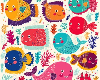 FUNNY colored FISHES POSTER. Underwater topic. Fine art print. Beautiful print for living room or kids room