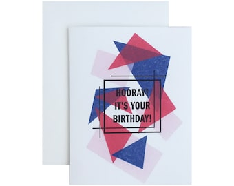 "Letterpress Birthday Card, ""Hooray It's Your Birthday"", Geometric, Modern"