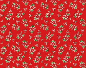 Pixie Noel by Riley Blake - Floral Red - Cotton Woven Fabric