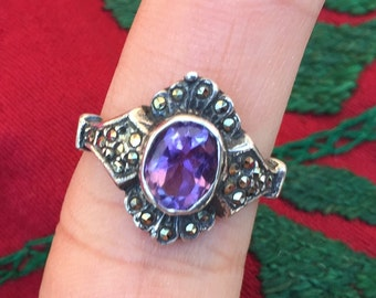 Amethyst Ring...Sterling Silver Ring...Handcrafted...Vintage 1980s...Hippie...February Birthstone...Gift...Vintage Shop...